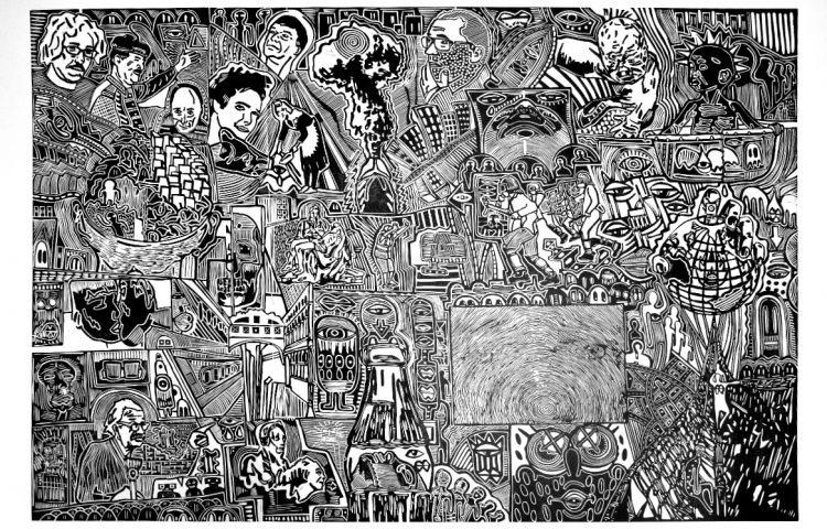 Damien Hirst e Jeff Koons si spartiscono il mercato dell'arte, 2011. Linoleografia su carta rosaspina bianca, cm 61x89,5_OK