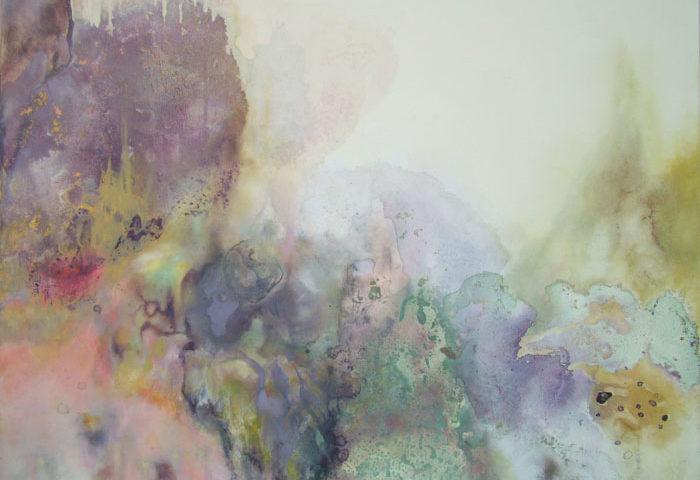 Gekleurd landschap, 2010, cm 80x100 acrilico e olio su tela
