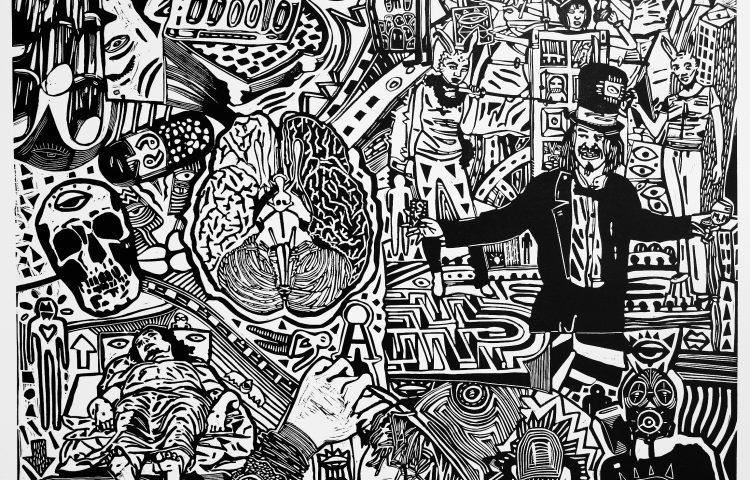 _Inception circo neuromante, 2010. Linoleografia su carta rosaspina bianca, cm 61x61_OK