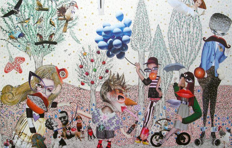 Incontri nel Parco, 43 x 63 cm, collage su ceramica, 2013