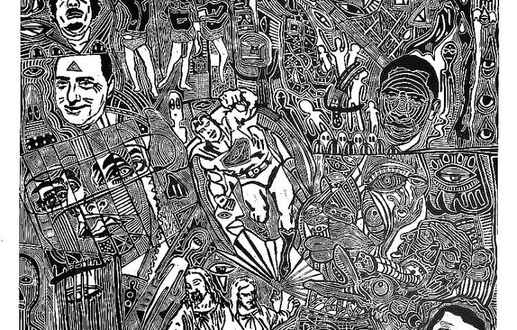 _La crisi del mio mal di testa, 2011. Linoleografia su carta rosaspina bianca, cm 61x61_OK