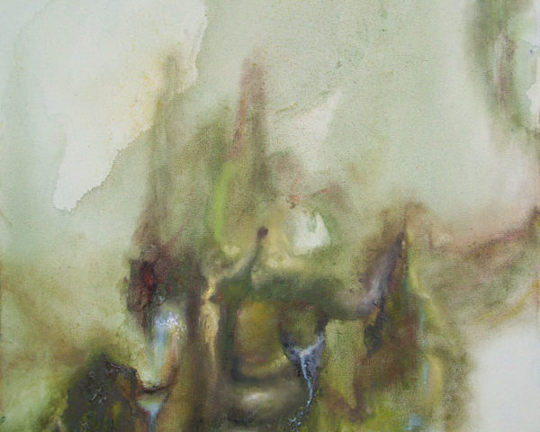 Lichtgroen landschap, 2010-2011, cm 70x50, olio e acrilico su tela