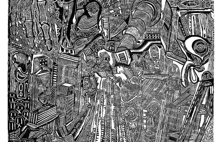 _L'uomo al 99¯ piano, 2011. Linoleografia su carta rosaspina bianca, cm 61x61_OK