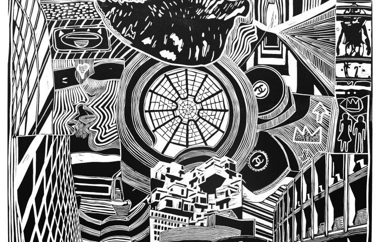 _Regno a venire nella città sospesa, 2008. Linoleografia su carta rosaspina bianca, cm 61x61_OK