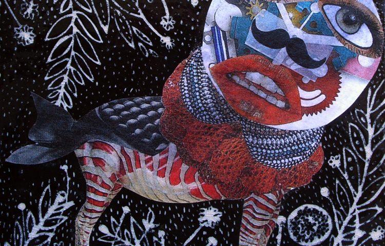 Tempo al galoppo, 15 x 15 cm, Collage su Ceramica, 2013